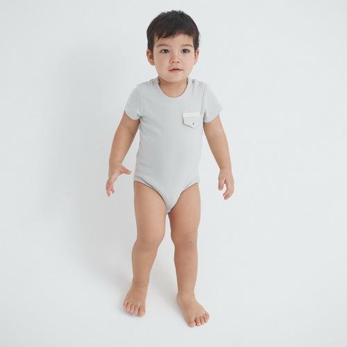 baby baby cool 口袋包屁衣 (灰)