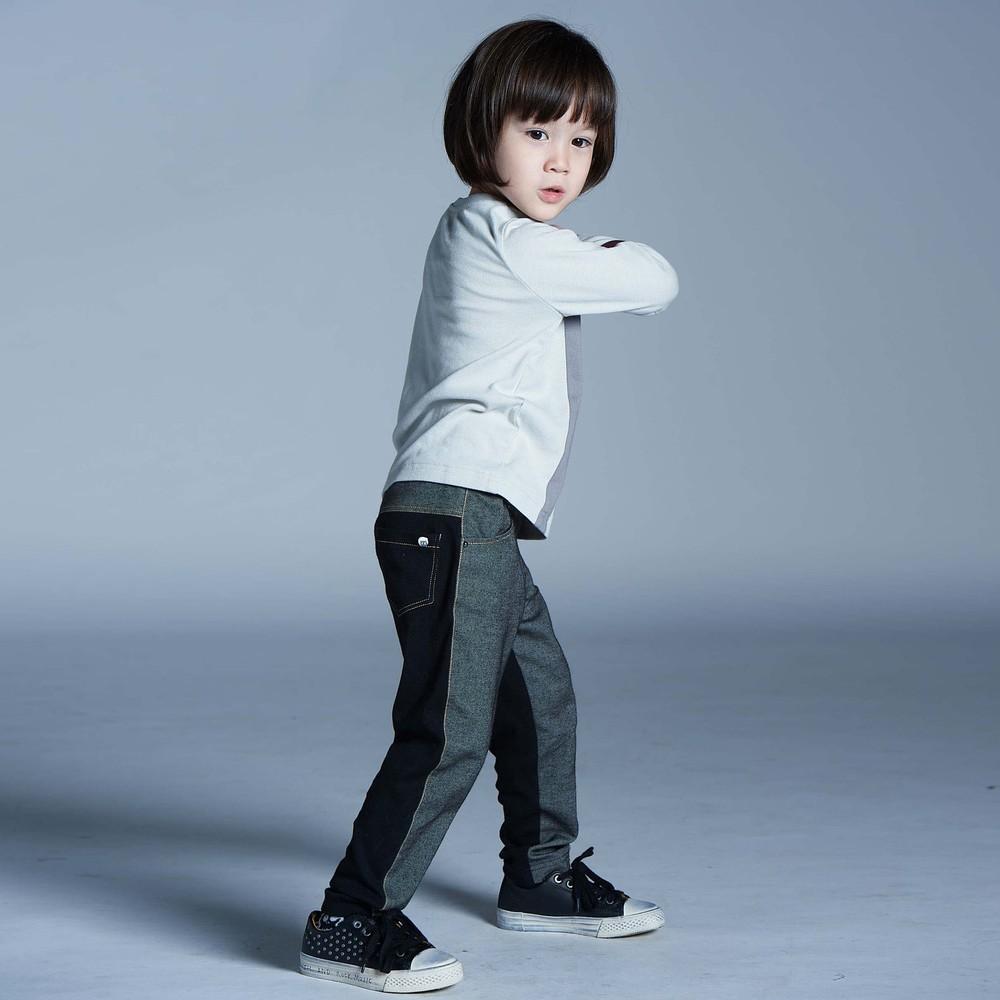 baby baby cool|經典斜裁丹寧褲(黑)