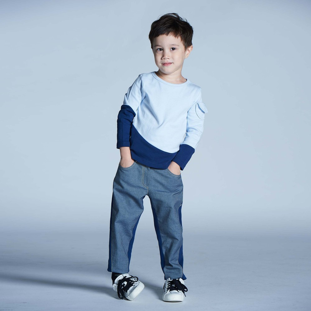 baby baby cool|經典斜裁丹寧褲(藍)