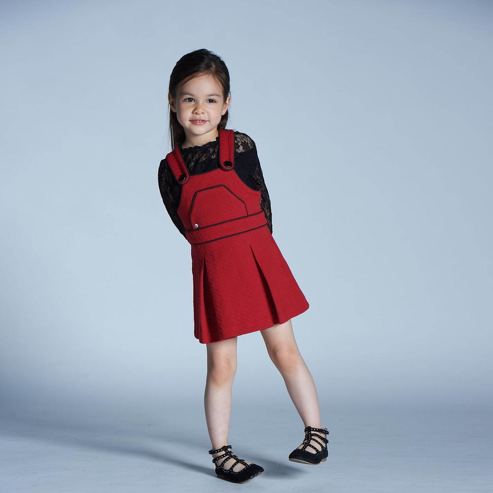 baby baby cool 溫蒂菱格紋背帶裙