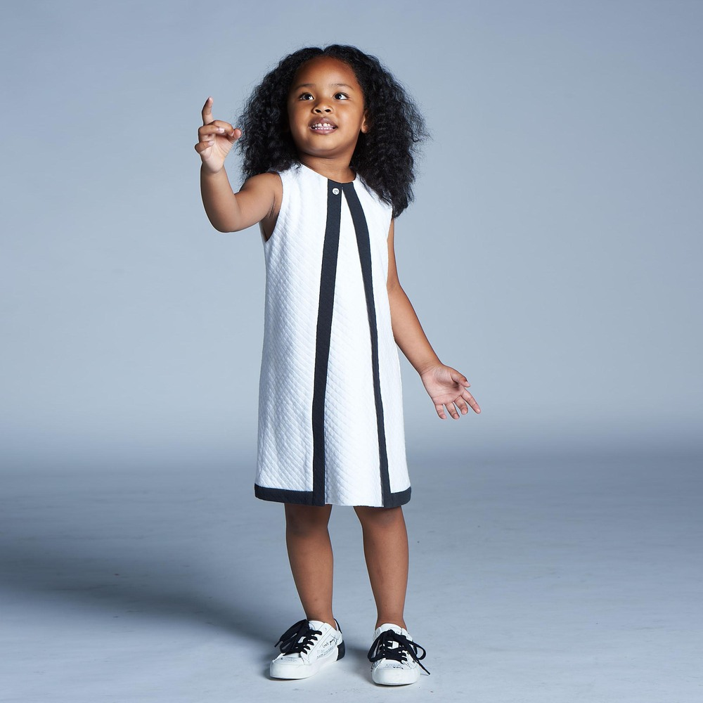 baby baby cool|菱格紋拼色背心裙(白)