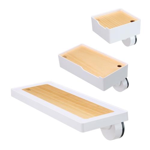 TiLS Homeware|KISS LOCK 快鎖吸盤-壁掛收納組3入(置物架+大盒+小盒)