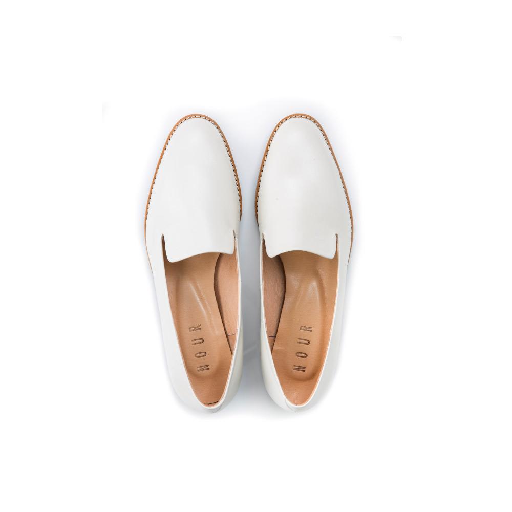 NOUR classic 經典款 loafer 全素面樂福鞋-Latte Bianco 白色