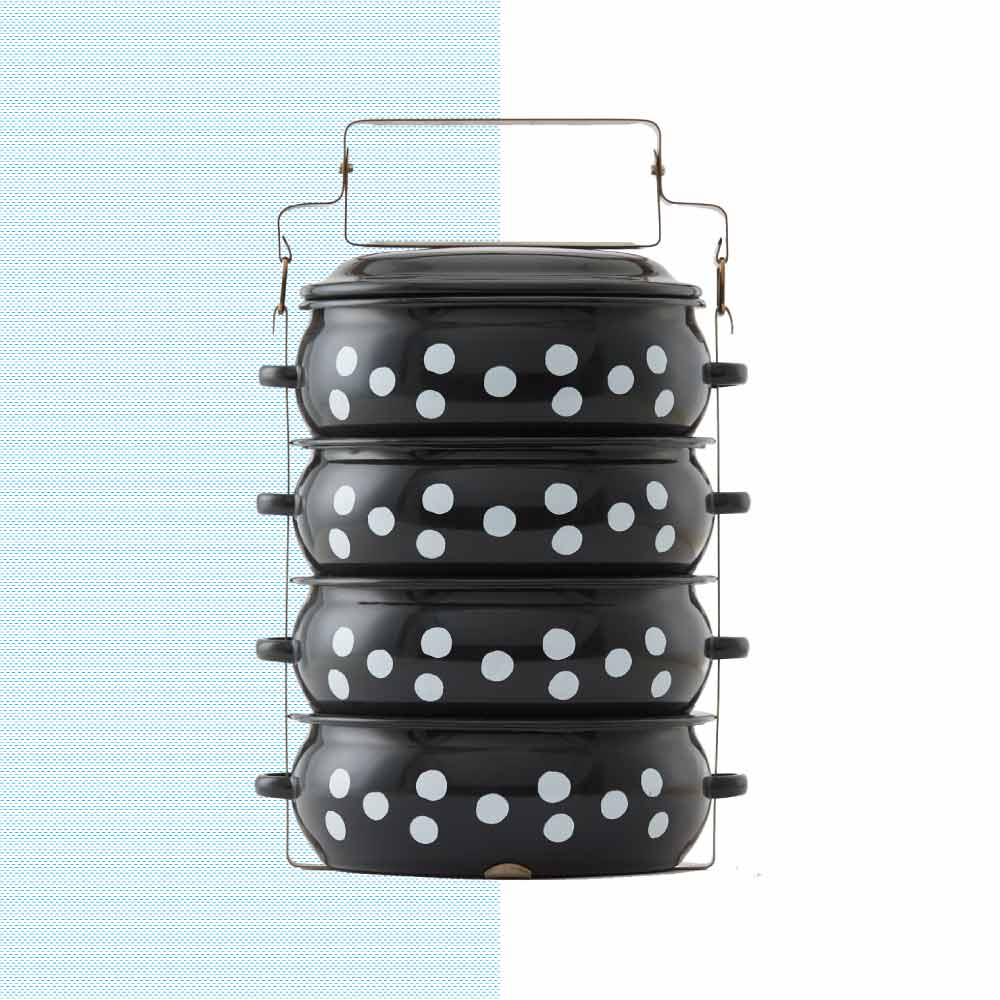 ShopChaMuch|2018新設計 白點點黑 肆層琺瑯PINTO便當盒