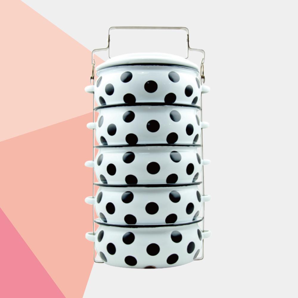 ShopChaMuch|黑點點白 伍層琺瑯PINTO便當盒