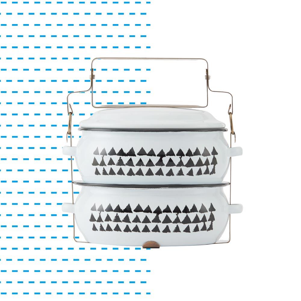 ShopChaMuch|2018新設計 黑三角白 貳層琺瑯PINTO便當盒