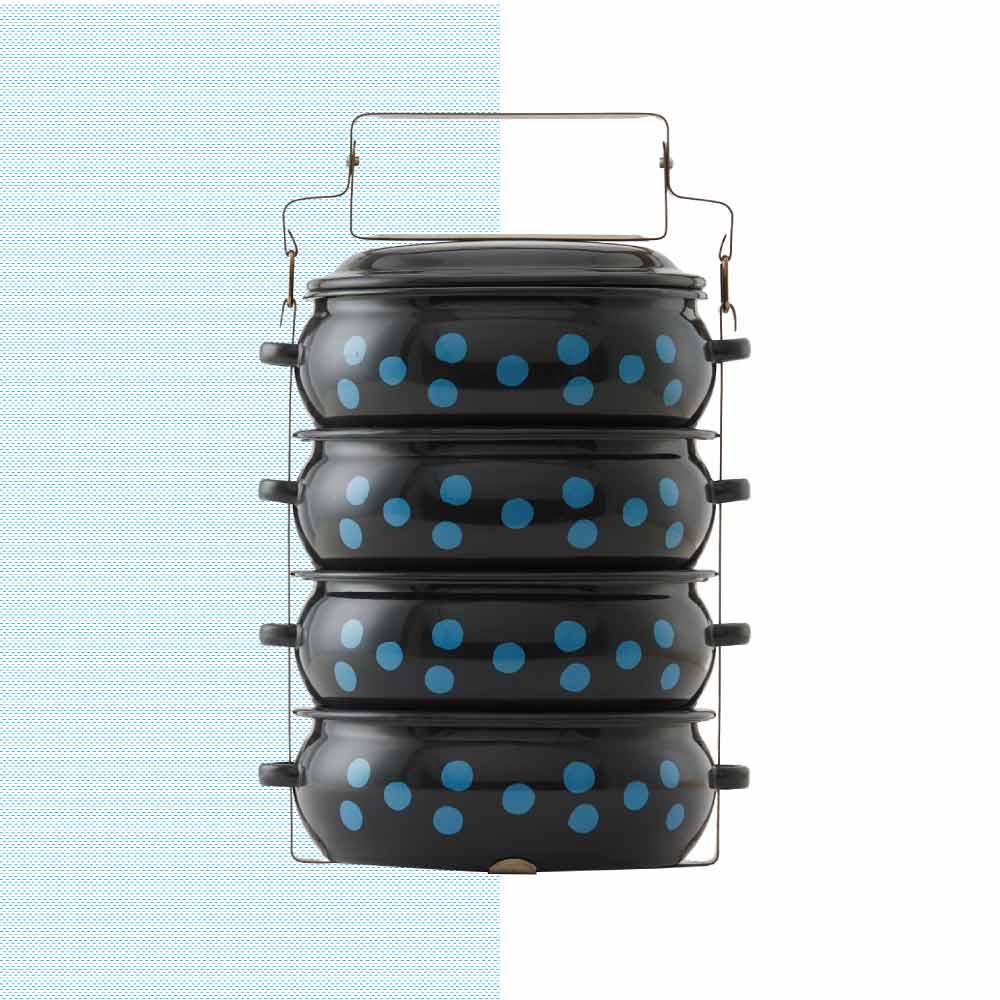 ShopChaMuch|2018新設計 藍點點黑 肆層琺瑯PINTO便當盒