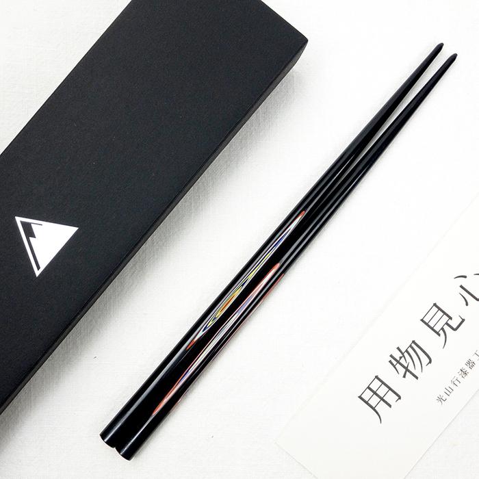 光山行|手工研磨漆筷 線條 Lacquer chopsticks(紅藍色)