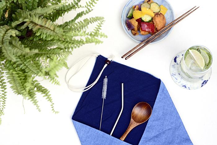 (複製)光山行 藍染餐具包 雲染 Indigo cutlery bag