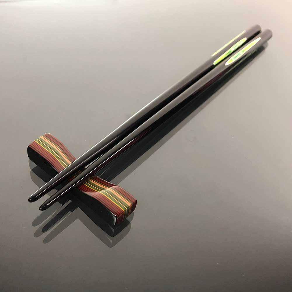 光山行|手工研磨漆筷 線條 Lacquer chopsticks(黃綠色)