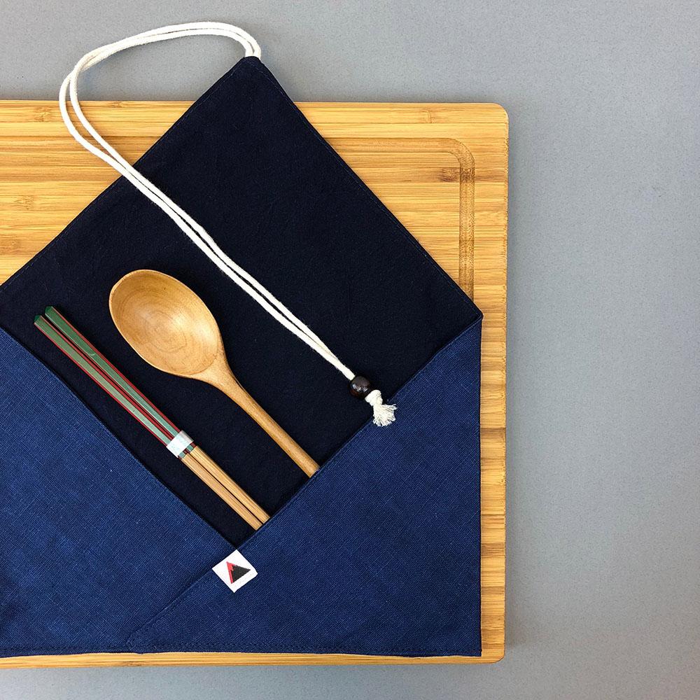 光山行 藍染餐具包 墨藍 Indigo cutlery bag