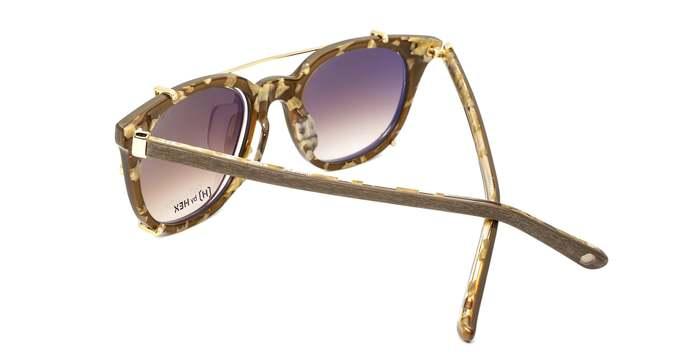 HEX Eyewear|運動家 - Cristiano R.│光學配前掛墨鏡│太陽眼鏡│義大利設計 - 仿木紋啡花