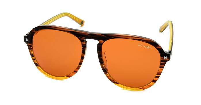 HEX Eyewear|探險家 - Leif E.│墨鏡│太陽眼鏡│義大利設計 - 透橘色橫紋