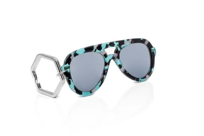 HEX Eyewear 墨鏡鑰匙圈 太陽眼鏡鑰匙圈 HEXETATE 板料配件 - 藍綠啡花