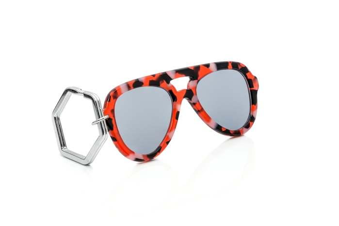HEX Eyewear|墨鏡鑰匙圈|太陽眼鏡鑰匙圈|HEXETATE 板料配件 - 紅黑啡花