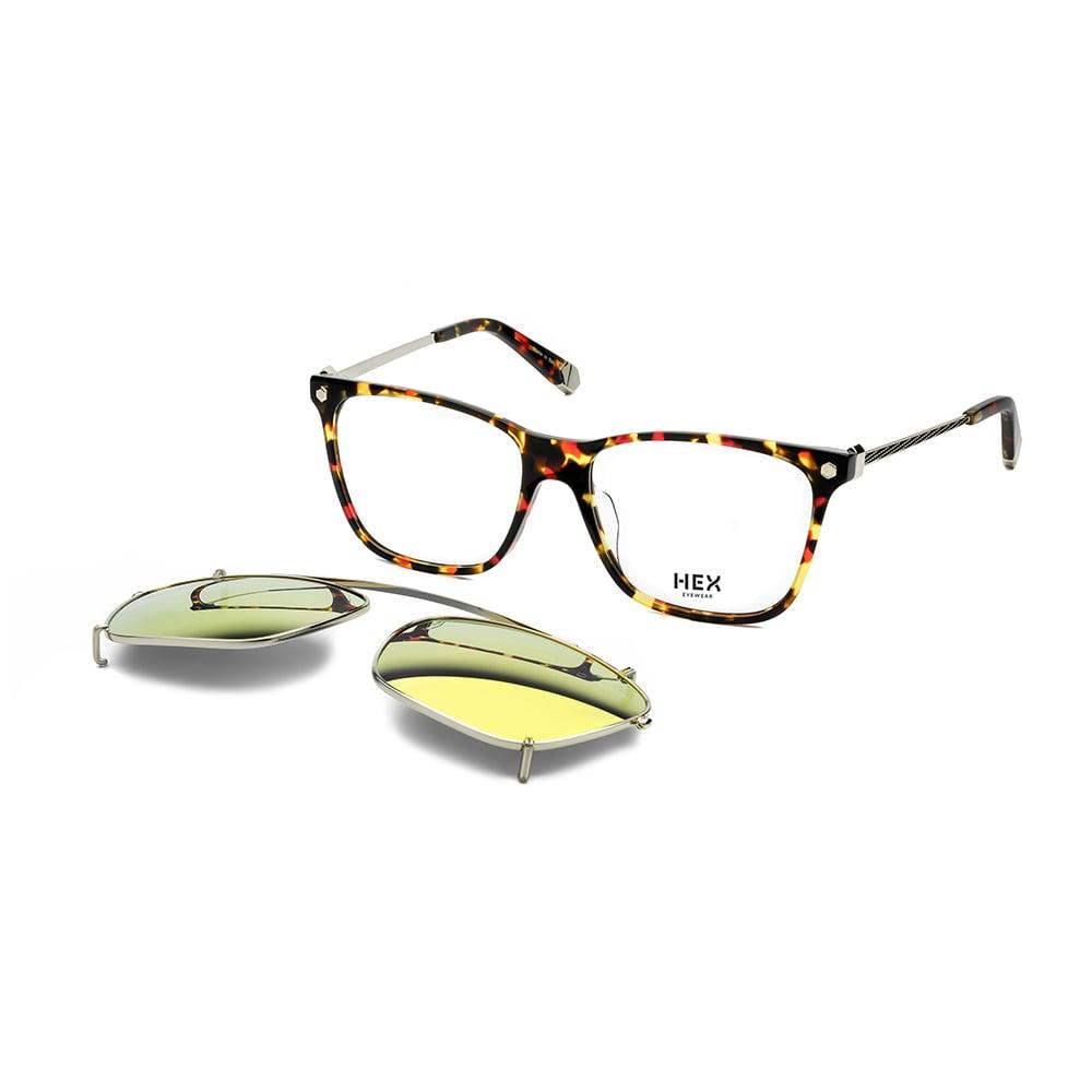 HEX Eyewear|開拓者 - Ellenby│光學配前掛墨鏡│太陽眼鏡│義大利製 - 黑紅啡花