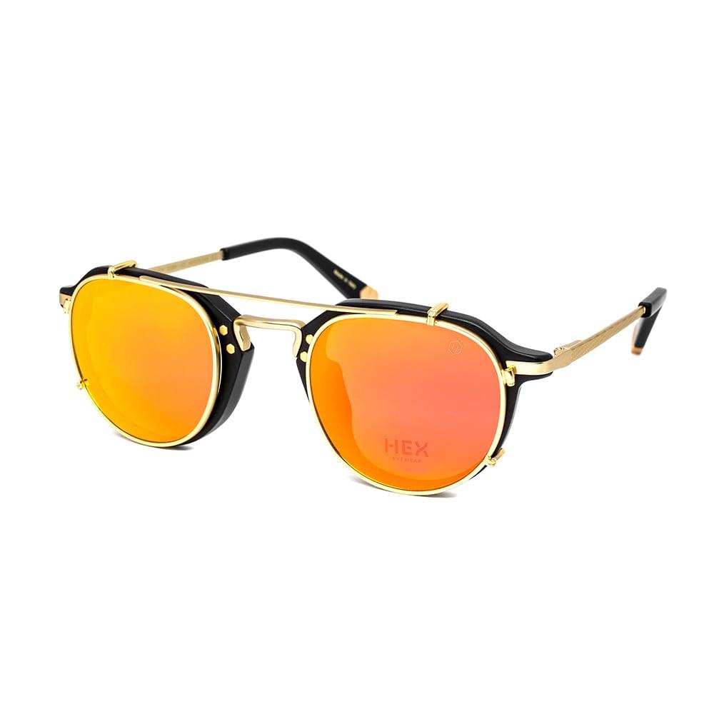 HEX Eyewear|商人 - Morgan│光學配前掛墨鏡│太陽眼鏡│義大利製 - 黑色