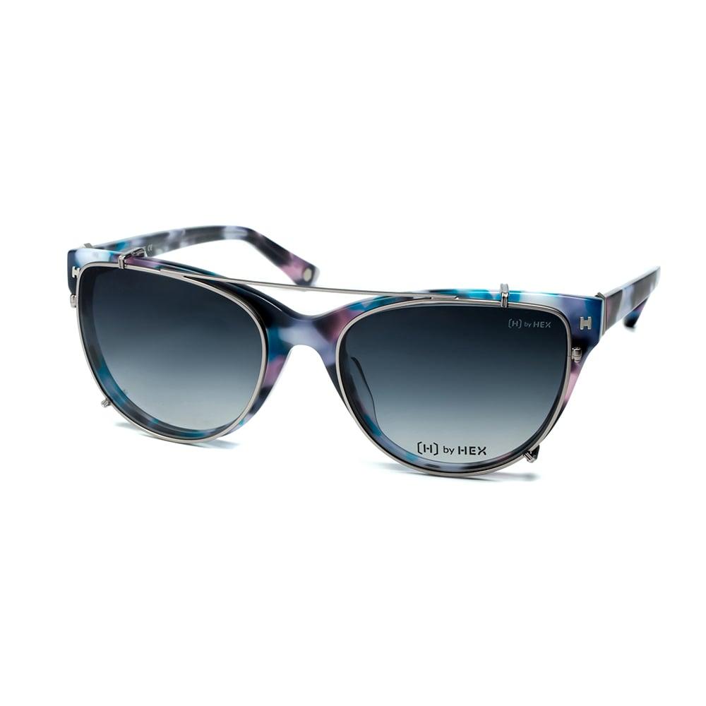HEX Eyewear|空服員 - Ellen C.│光學配前掛墨鏡│太陽眼鏡│義大利設計 - 紫藍啡花