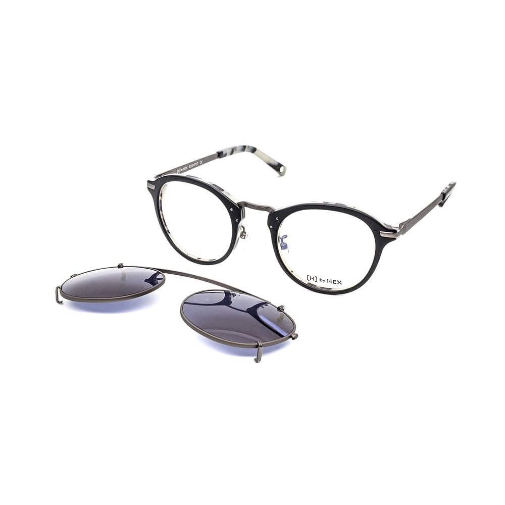 HEX Eyewear|科學家 - Michael F.│光學配前掛墨鏡│太陽眼鏡│義大利設計 - 黑色雙層啡花