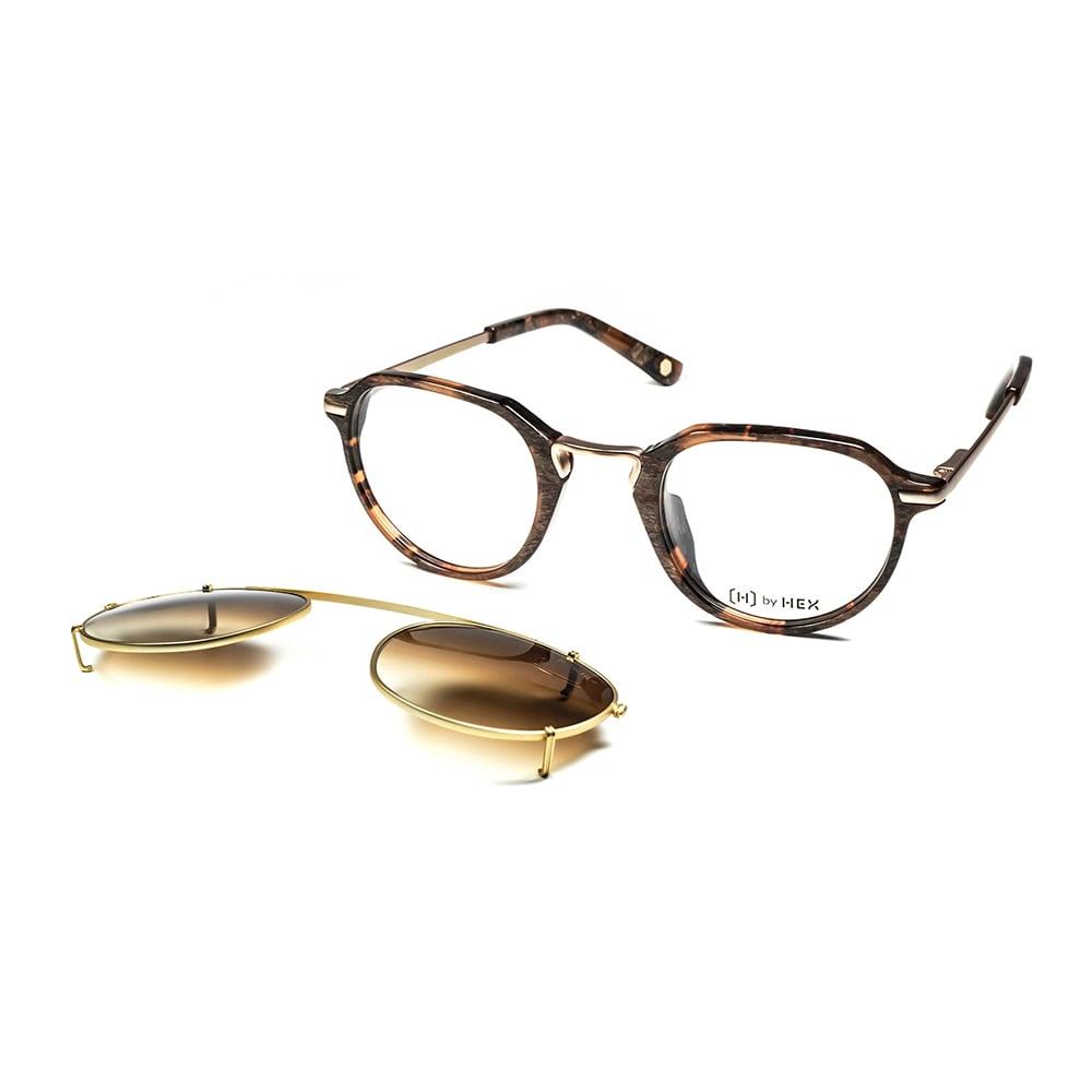 HEX Eyewear|商人 - John M.│光學配前掛墨鏡│太陽眼鏡│義大利設計 - 褐色啡花