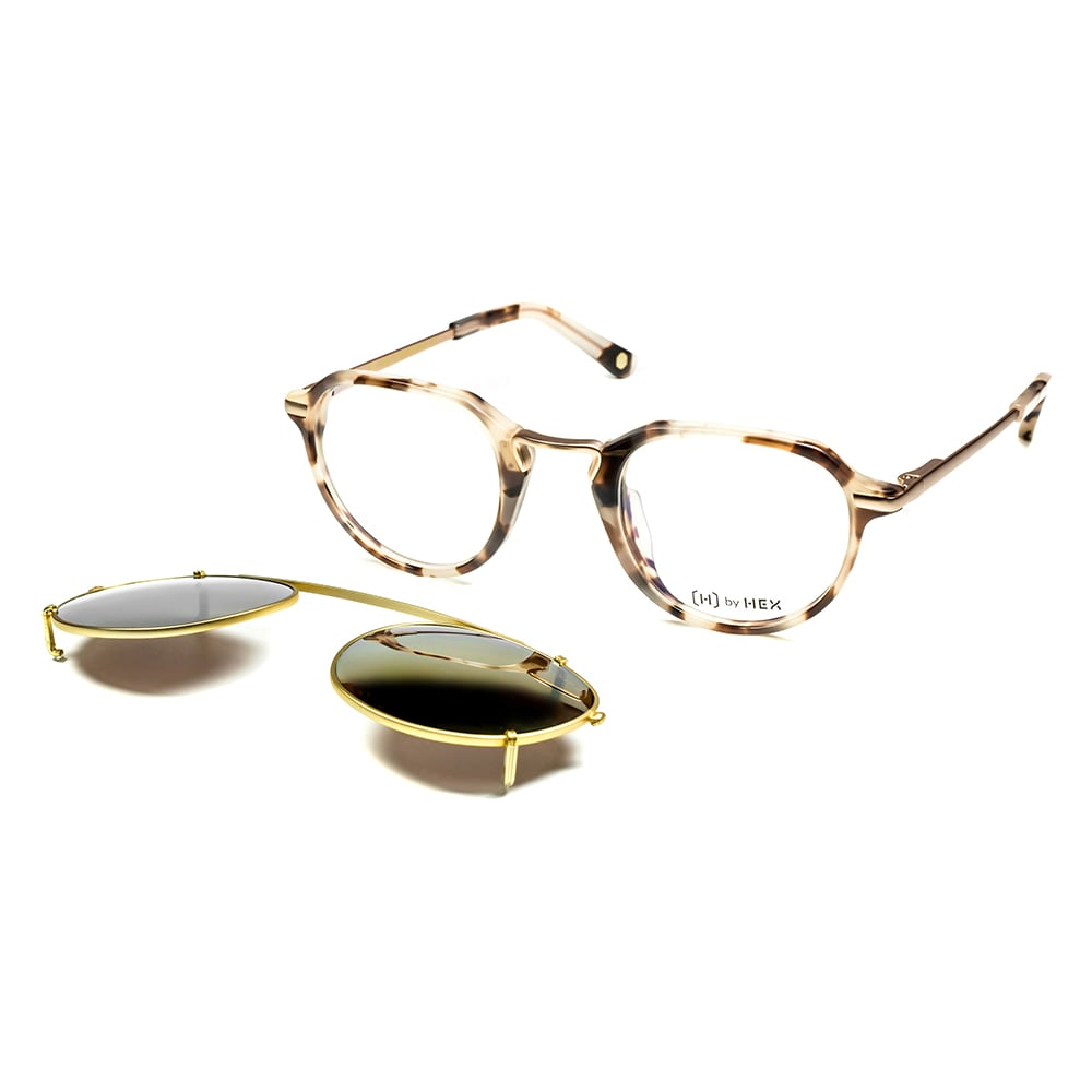 HEX Eyewear|商人 - John M.│光學配前掛墨鏡│太陽眼鏡│義大利設計 - 米褐色啡花
