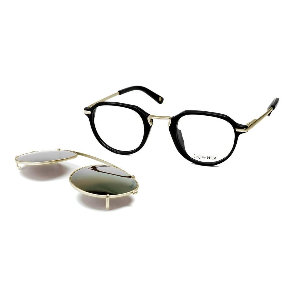 HEX Eyewear|商人 - John M.│光學配前掛墨鏡│太陽眼鏡│義大利設計 - 黑色