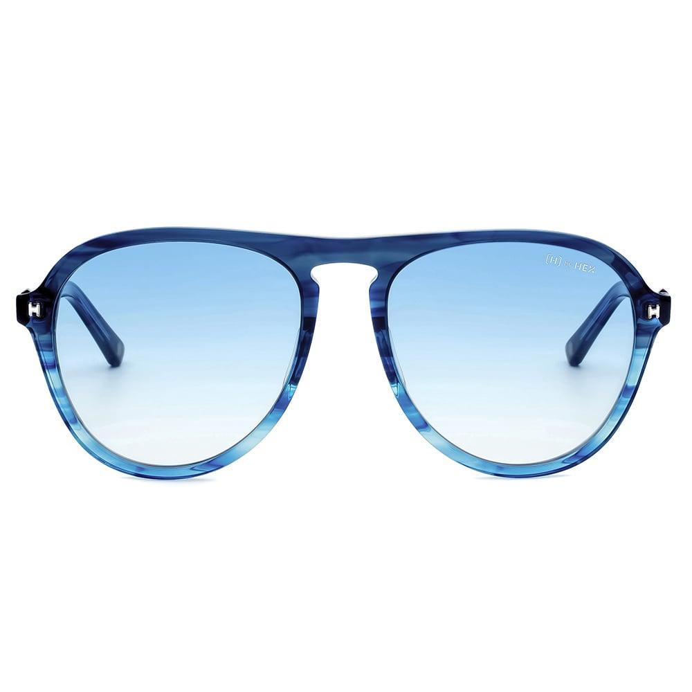 HEX Eyewear|探險家 - Leif E.│墨鏡│太陽眼鏡│義大利設計 - 透藍色橫紋
