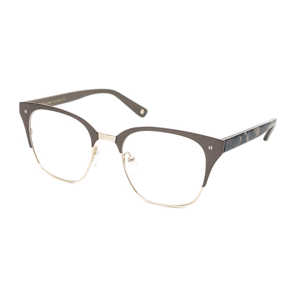 HEX Eyewear|賭徒 - Johnny M.│光學鏡框│平光眼鏡│義大利設計 - 褐色蛇皮紋