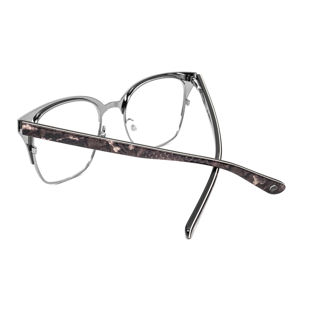 HEX Eyewear|賭徒 - Johnny M.│光學鏡框│平光眼鏡│義大利設計 - 黑色蛇皮紋