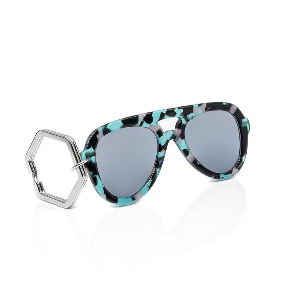 HEX Eyewear|墨鏡鑰匙圈|太陽眼鏡鑰匙圈|HEXETATE 板料配件 - 藍綠啡花