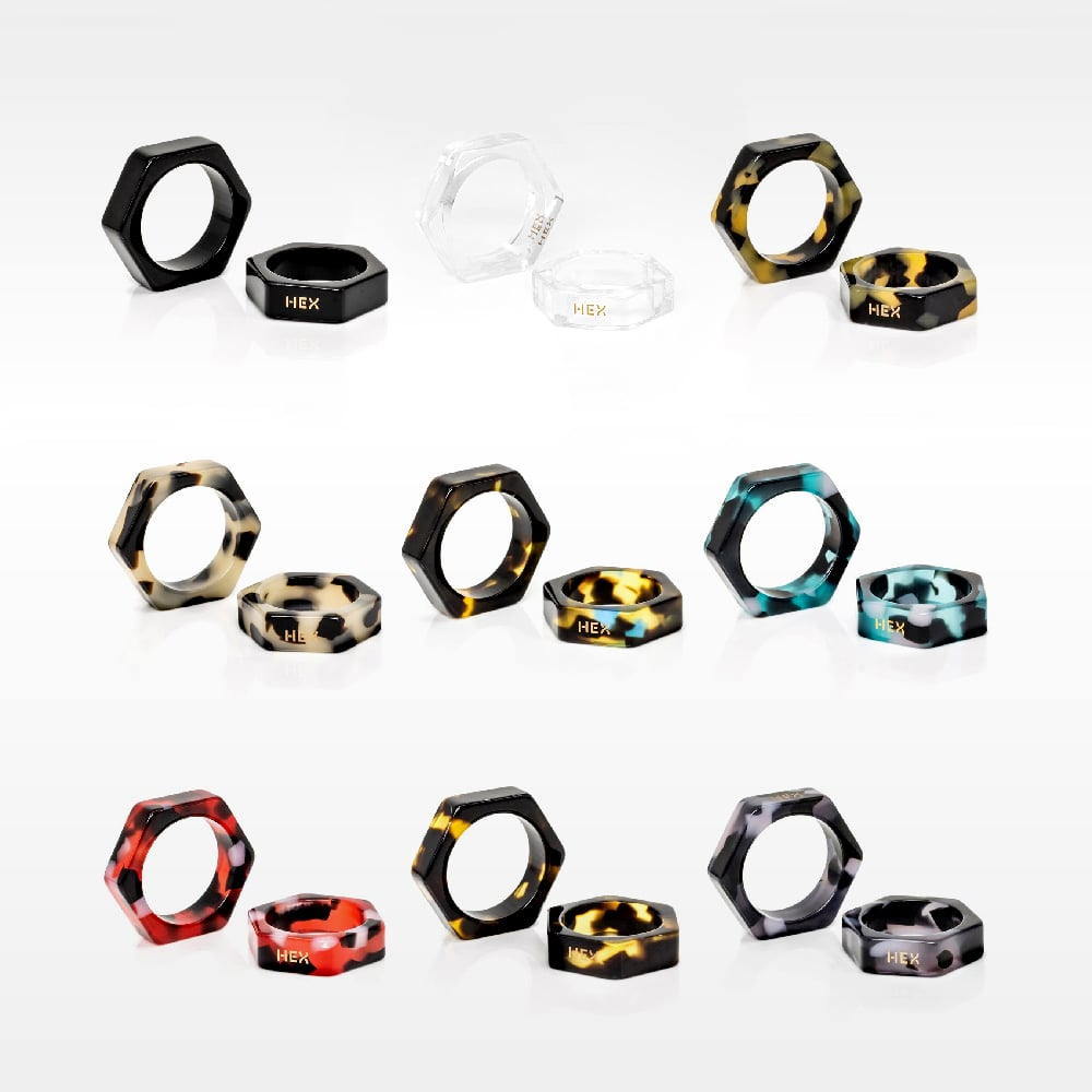 HEX Eyewear|大戒指|HEXETATE 眼鏡墨鏡板料配件 - 藍綠啡花