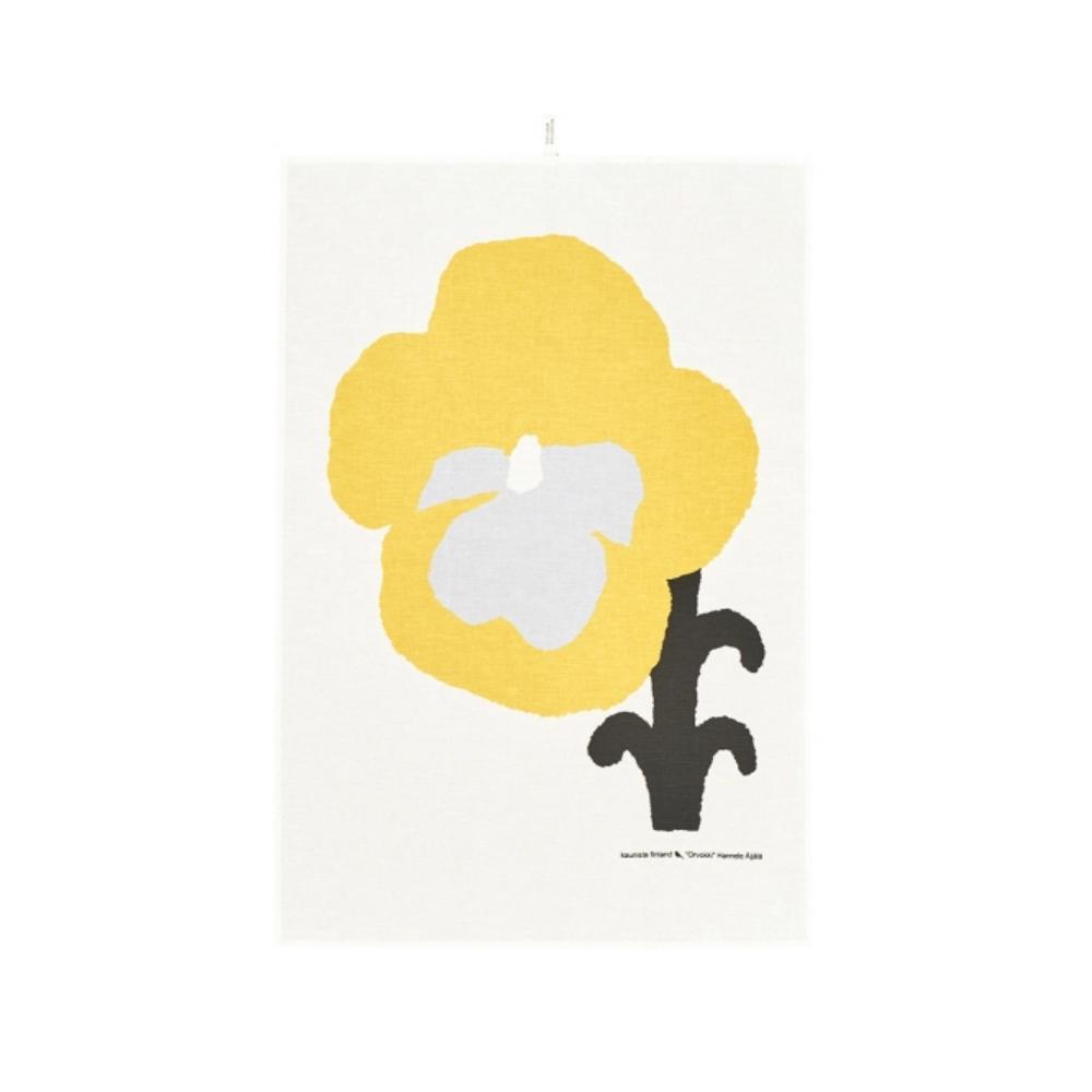 Kauniste|棉麻擦巾 (黃色三色堇)