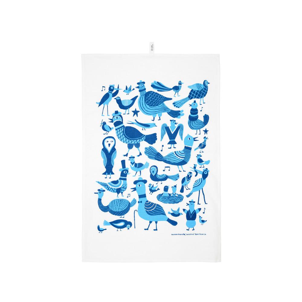 Kauniste|棉麻擦巾 (藍色小鳥愛唱歌)