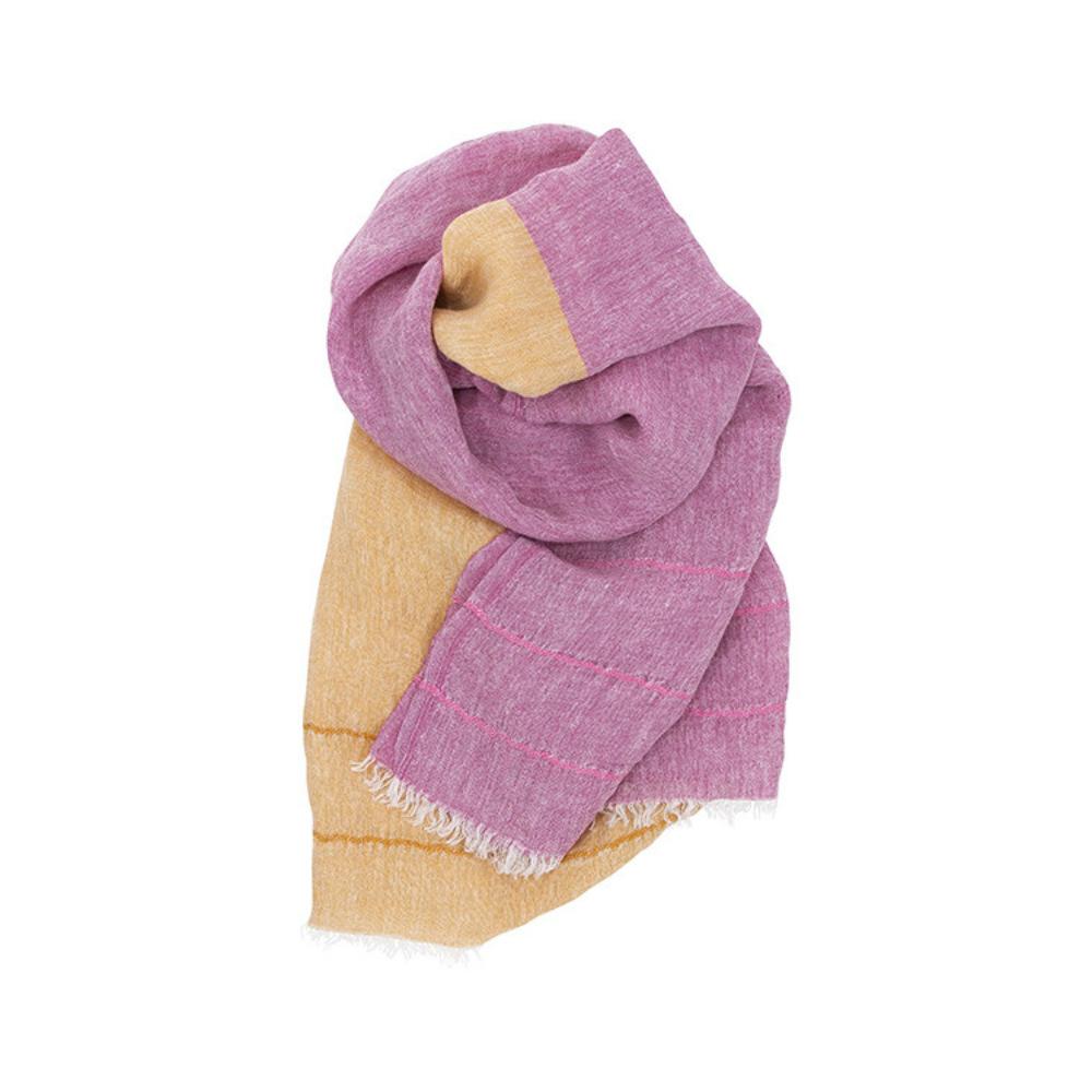 Lapuan Kankurit|TSAVO亞麻薄圍巾 (粉紅+橘)
