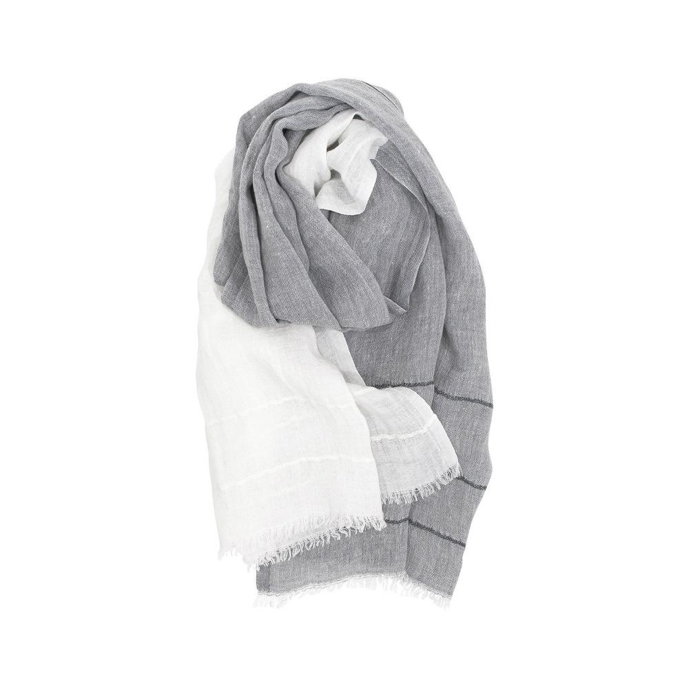 Lapuan Kankurit|TSAVO亞麻薄圍巾 (淺灰+白)