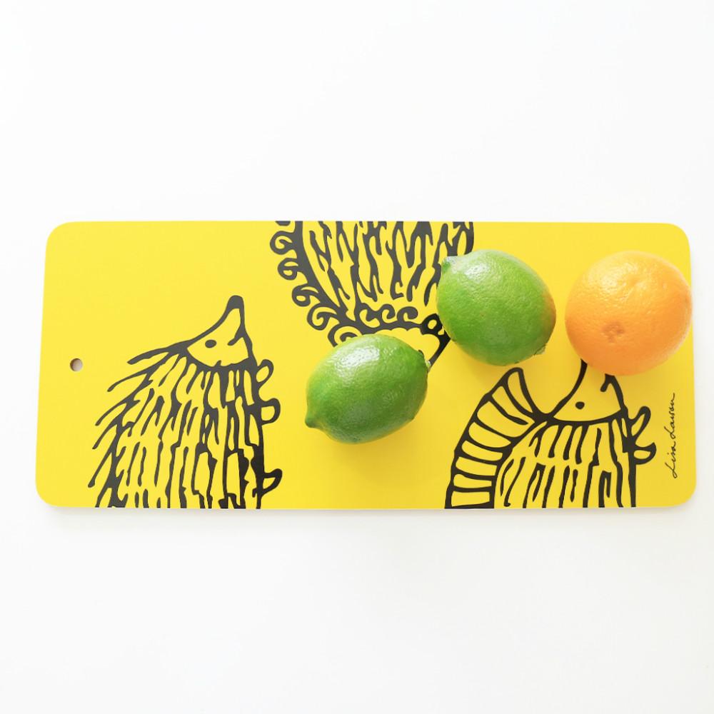 Lisa Larson|刺蝟三兄弟白樺木砧板/餐墊 (黃)