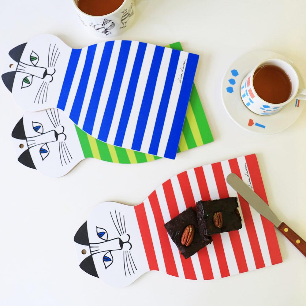Lisa Larson|Mimi貓造型白樺木砧板/餐墊 (紅條紋)