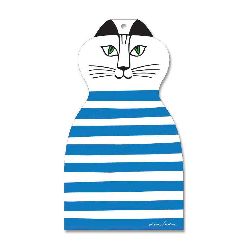 Lisa Larson|Mimi貓造型白樺木砧板/餐墊 (藍條紋)