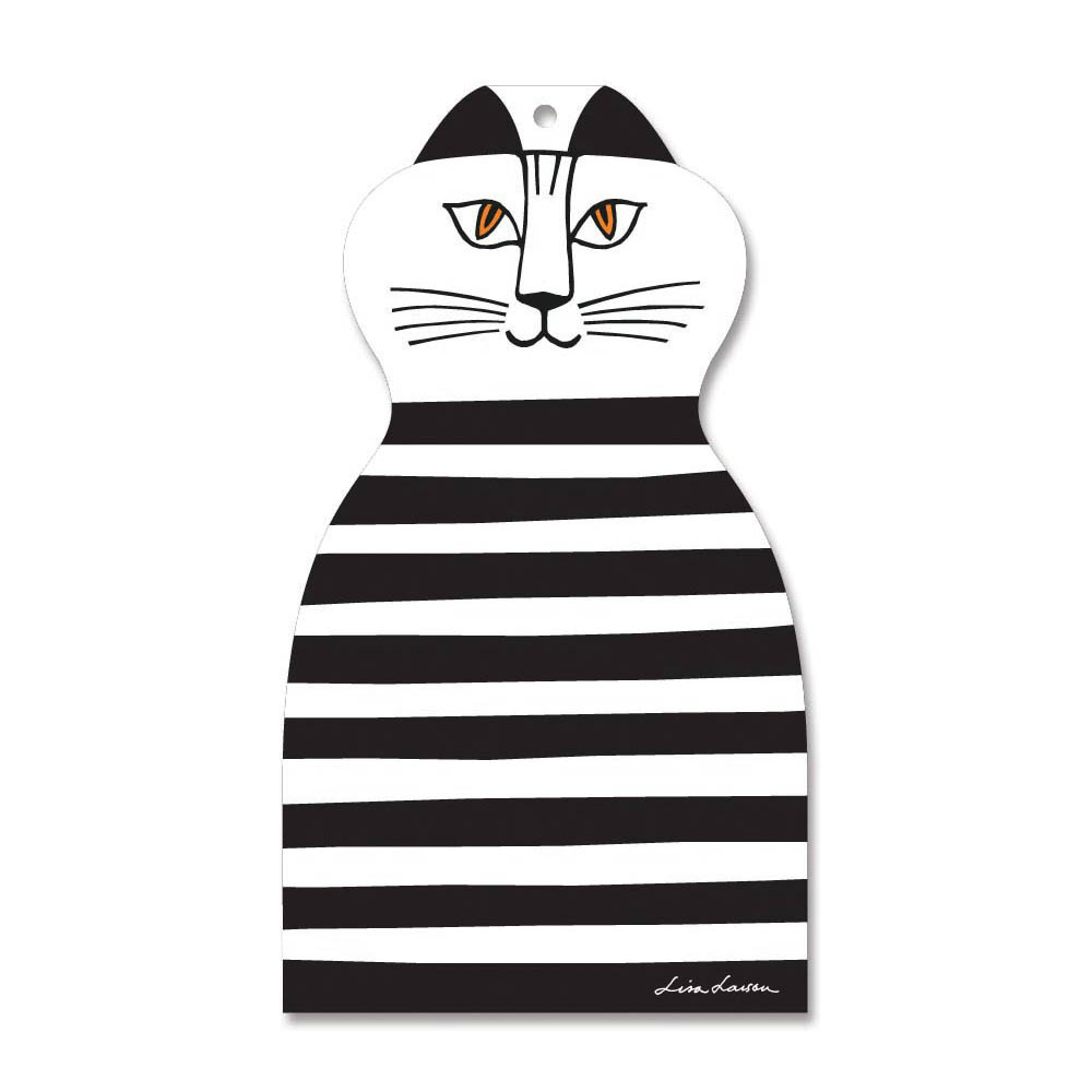 Lisa Larson|Mimi貓造型白樺木砧板/餐墊 (黑條紋)