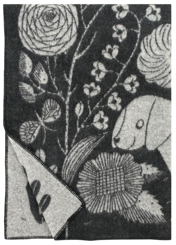 Lapuan Kankurit 鹿兒島睦貓狗羊毛毯 (黑灰)