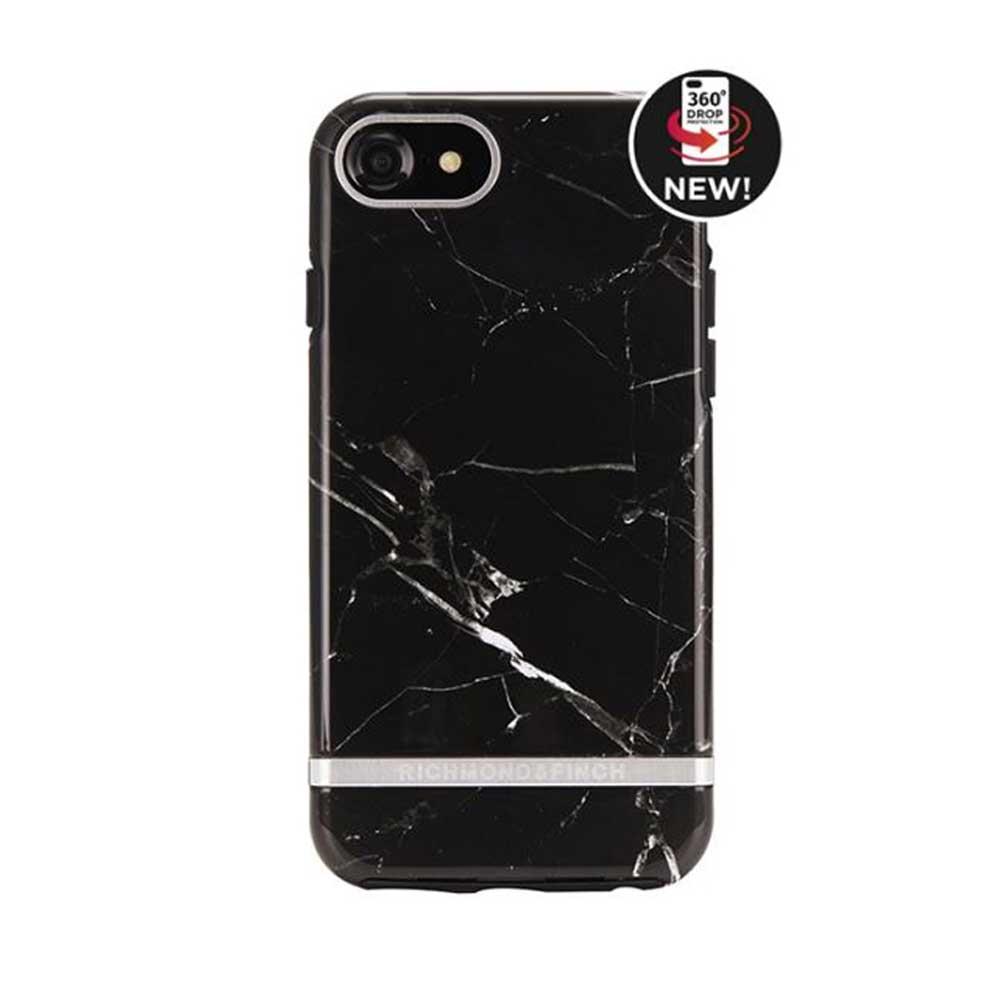 Richmond & Finch│iPhone  7/8 (4.7吋) 大理石紋銀線框手機殼 - 黑色