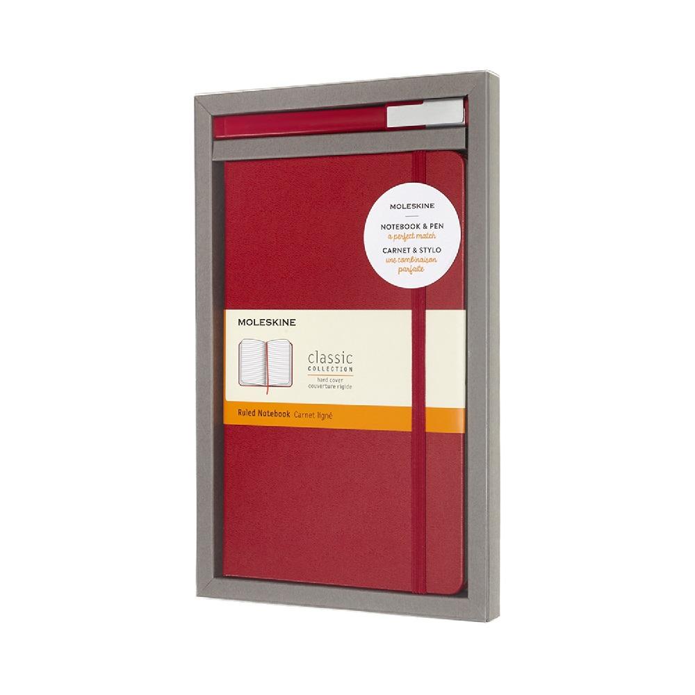 MOLESKINE|經典硬殼筆記本&鋼珠筆禮盒 (黑/紅)