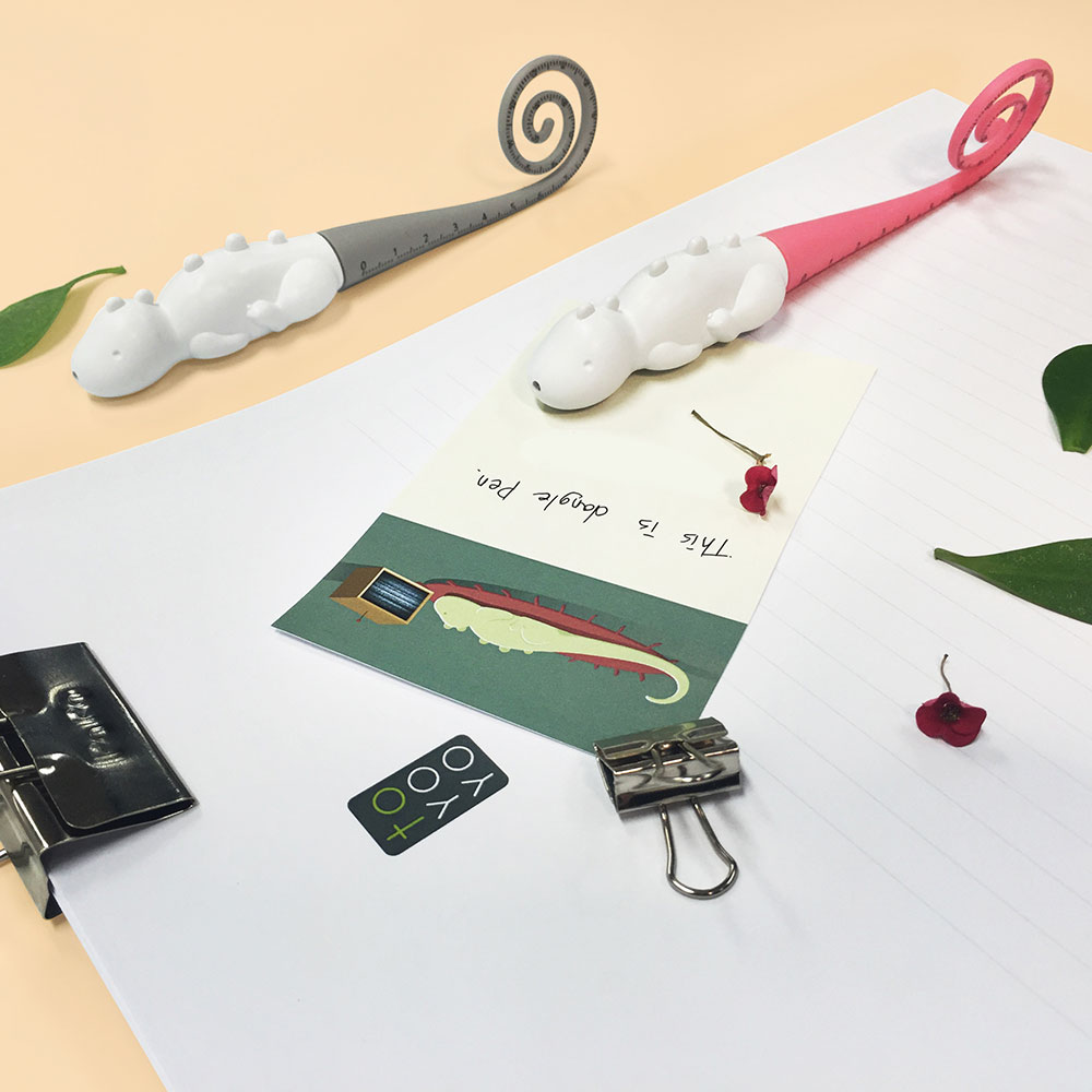 TOYOYO|恐龍短尺造型原子筆 - 淺灰