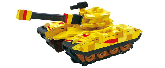 ROBOTIME 立體木質彩繪模型-坦克車Tank