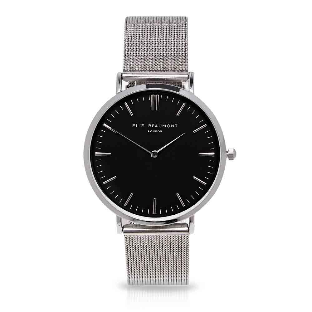 Elie Beaumont|英國時尚手錶 牛津米蘭錶帶系列 黑錶盤x銀色錶帶錶框38mm
