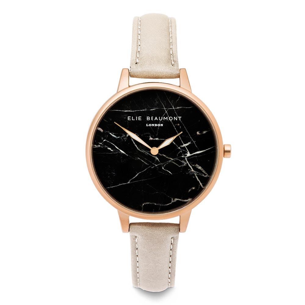 Elie Beaumont|英國時尚手錶 大理石系列 黑錶盤x褐色皮革錶帶x玫瑰金錶框38mm