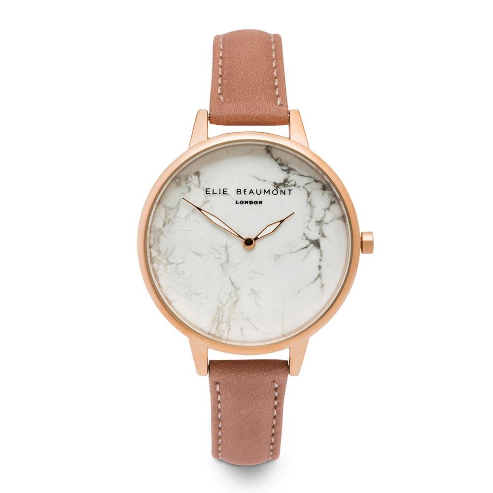 Elie Beaumont|英國時尚手錶 大理石系列 白錶盤x珊瑚粉皮革錶帶x玫瑰金錶框38mm