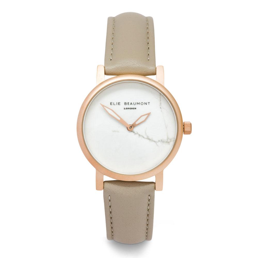 Elie Beaumont 英國時尚手錶 大理石系列 白錶盤x褐色皮革錶帶x玫瑰金錶框33mm