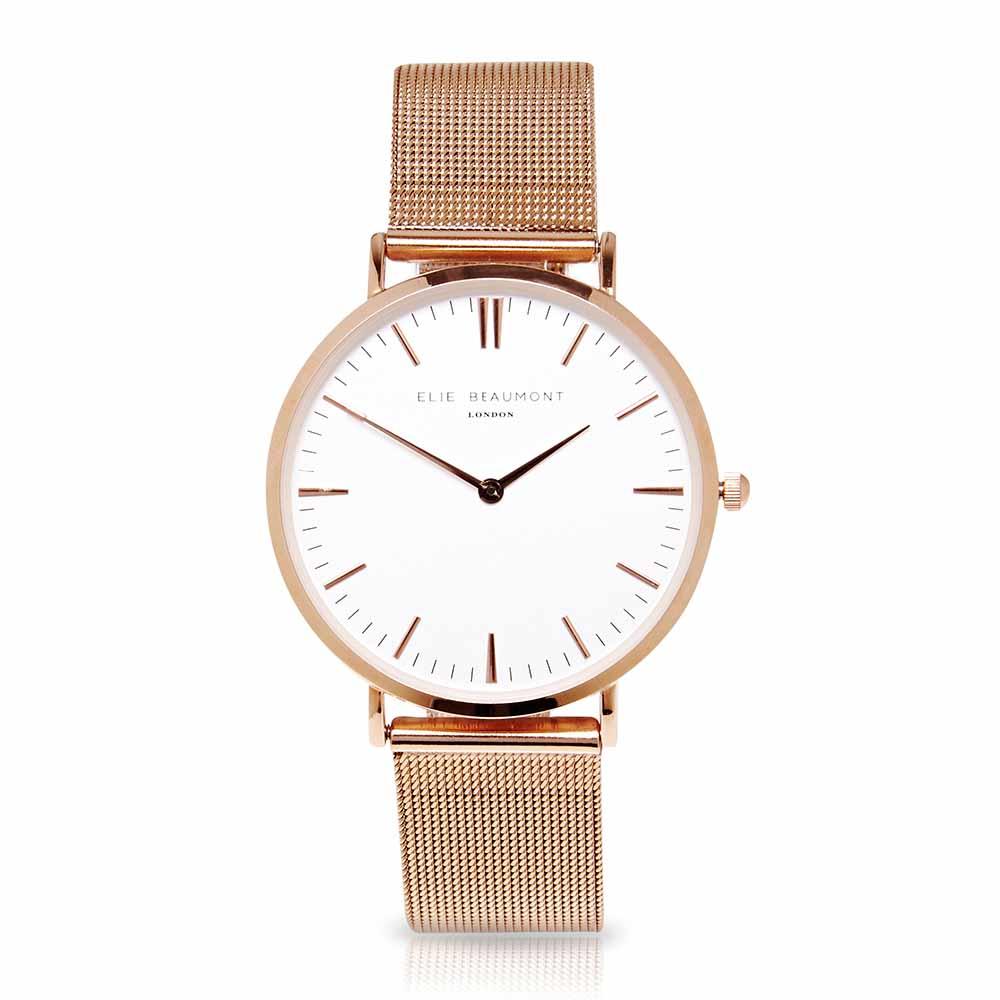 Elie Beaumont|英國時尚手錶牛津米蘭錶帶系列 白錶盤x玫瑰金色錶帶錶框38mm