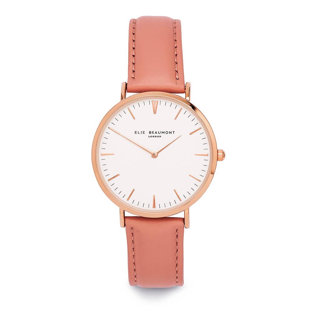Elie Beaumont|英國時尚手錶 牛津系列 白錶盤x粉紅色皮革錶帶x玫瑰金錶框38mm